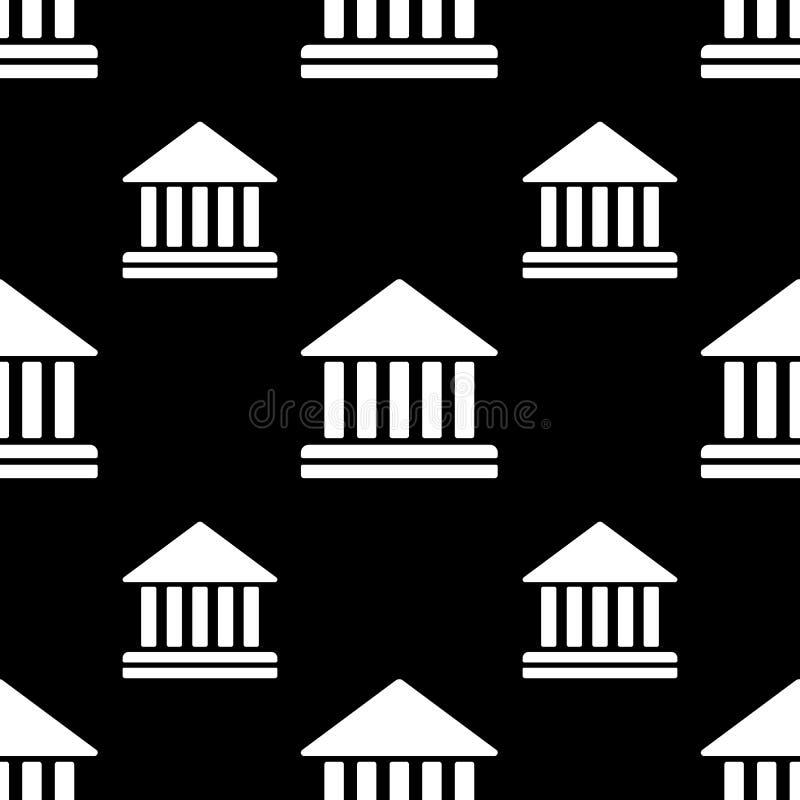 Δικαστήριο που χτίζει το διανυσματικό άνευ ραφής σχέδιο εικονιδίων διανυσματική απεικόνιση