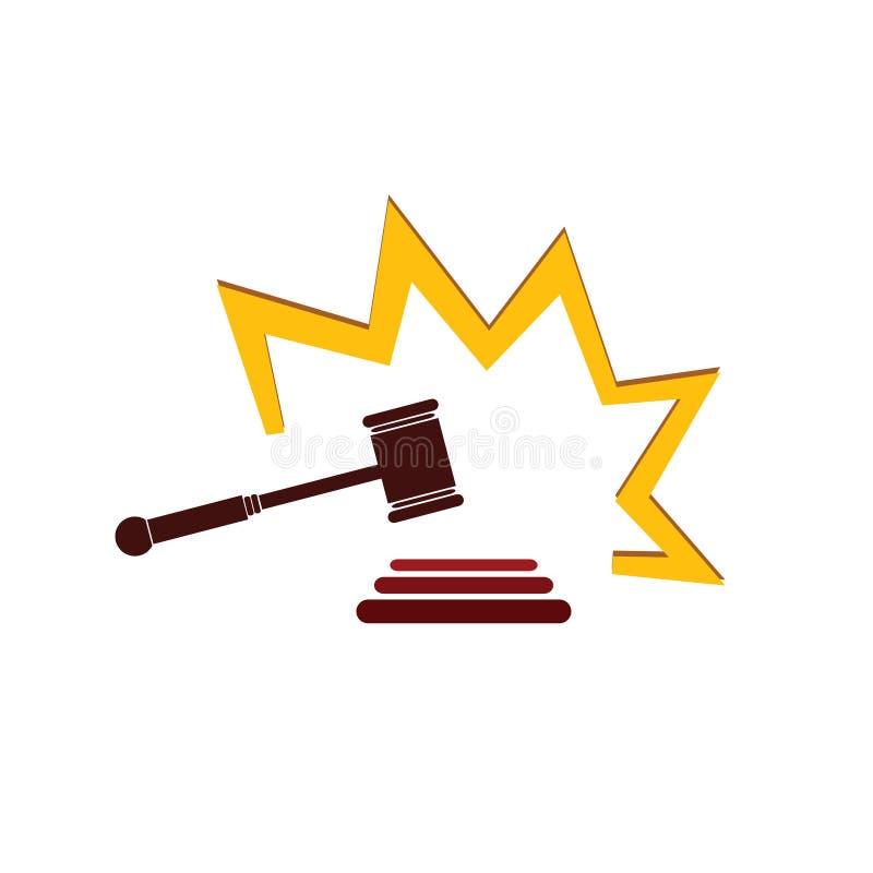 Δικαστήριο σφυριών στη διανυσματική απεικόνιση χρώματος ελεύθερη απεικόνιση δικαιώματος