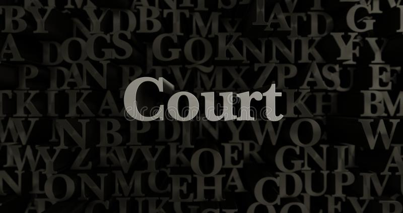Δικαστήριο - τρισδιάστατη μεταλλική στοιχειοθετημένη απεικόνιση τίτλων ελεύθερη απεικόνιση δικαιώματος