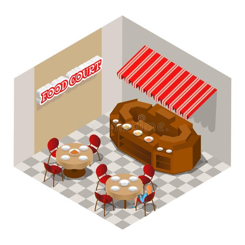 Δικαστήριο τροφίμων Διανυσματική isometric απεικόνιση απεικόνιση αποθεμάτων