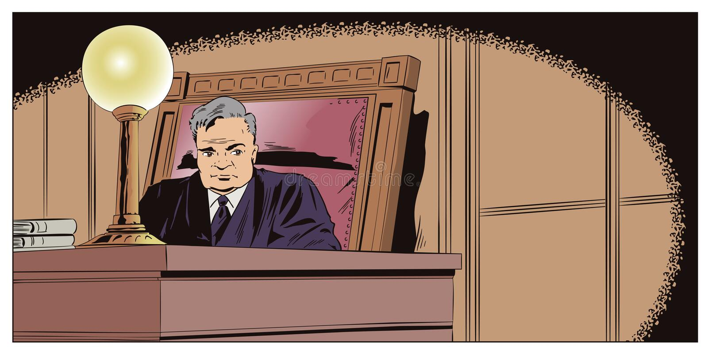 Δικαστής στο δικαστήριο πορτοκαλί απόθεμα απεικόνισης ανασκόπησης φωτεινό διανυσματική απεικόνιση