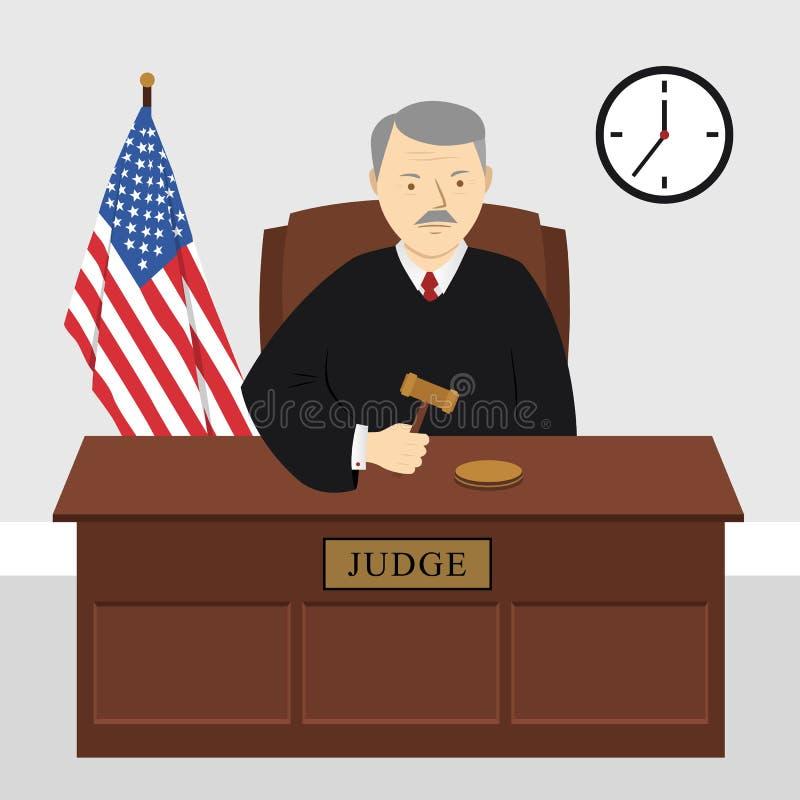 Δικαστής στο δικαστήριο στην ακρόαση που κρατά gavel ελεύθερη απεικόνιση δικαιώματος