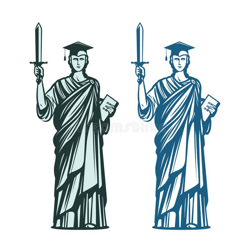 Δικαστικός, σύμβολο εκπαίδευσης Συμβολαιογράφος, δικαιοσύνη, εικονίδιο δικηγόρων επίσης corel σύρετε το διάνυσμα απεικόνισης διανυσματική απεικόνιση