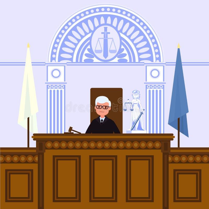 Δικαστικό εσωτερικό δικαστηρίων Ο δικαστής κάθεται στο δικαστήριο ελεύθερη απεικόνιση δικαιώματος