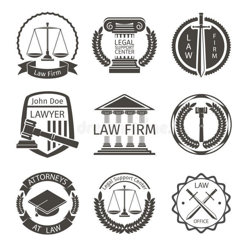 Δικηγόρος και λογότυπο δικηγορικών γραφείων, διάνυσμα ετικετών εμβλημάτων απεικόνιση αποθεμάτων