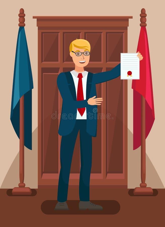 Δικηγόρος που παρουσιάζει στοιχεία στο δικαστήριο επίπεδη απεικόνιση διανυσματική απεικόνιση