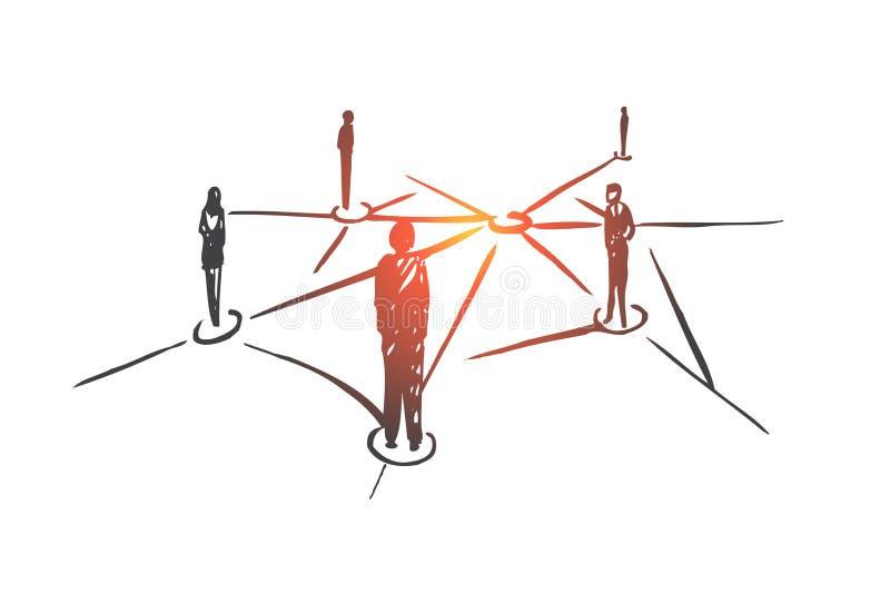 Δικτύωση, Διαδίκτυο, σύνδεση, Ιστός, κοινωνική έννοια Συρμένο χέρι απομονωμένο διάνυσμα ελεύθερη απεικόνιση δικαιώματος