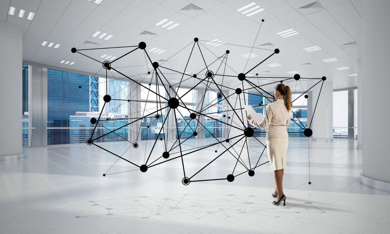 Δικτύωση και κοινωνική έννοια επικοινωνίας ως αποτελεσματικό σημείο για τη σύγχρονη επιχείρηση στοκ εικόνα με δικαίωμα ελεύθερης χρήσης