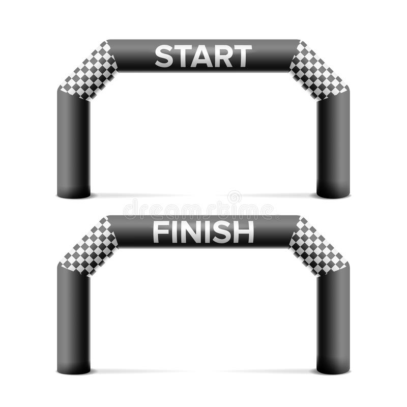 Διογκώσιμη έναρξη, διάνυσμα αψίδων γραμμών τερματισμού Θέση για τη διαφήμιση χορηγών Απομονωμένος στην άσπρη απεικόνιση διανυσματική απεικόνιση