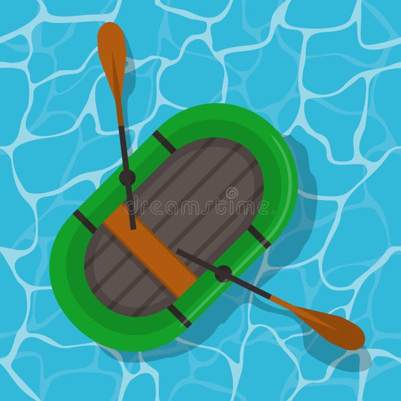Διογκώσιμη βάρκα με τα κουπιά στο νερό Η πράσινη λαστιχένια βάρκα τοπ wiev κολυμπά και κουπιά στο επίπεδο ύφος ελεύθερη απεικόνιση δικαιώματος