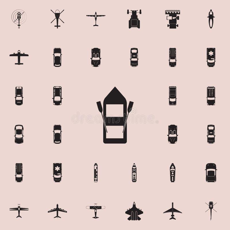 Διογκώσιμο εικονίδιο βαρκών Καθολικό εικονιδίων άποψης μεταφορών άνωθεν που τίθεται για τον Ιστό και κινητό ελεύθερη απεικόνιση δικαιώματος