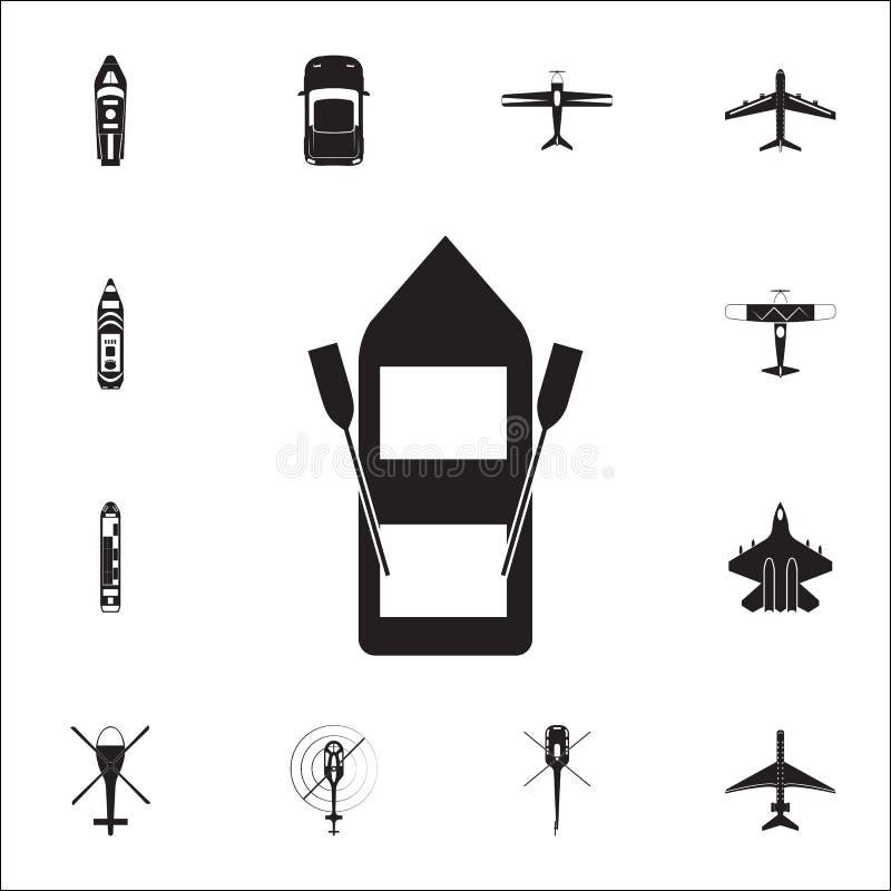 Διογκώσιμο εικονίδιο βαρκών Λεπτομερές σύνολο εικονιδίων άποψης μεταφορών άνωθεν Γραφικό σημάδι σχεδίου εξαιρετικής ποιότητας Μια απεικόνιση αποθεμάτων