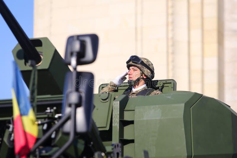 Διοικητής ενός Piranha Β τεθωρακισμένο όχημα PC 8x8 στοκ εικόνες