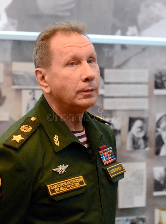 Διοικητής - μέσα - προϊστάμενος των εσωτερικών στρατευμάτων του Υπουργείου εσωτερικών θεμάτων της Ρωσίας, γενικών του στρατού Βίκ στοκ φωτογραφίες