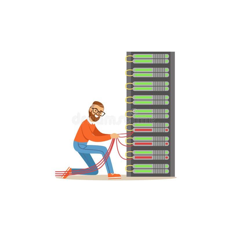 Διοικητής μηχανικών δικτύων που εργάζεται στο κέντρο δεδομένων, διανυσματική απεικόνιση υπηρεσιών δικτύωσης ραφιών κεντρικών υπολ απεικόνιση αποθεμάτων