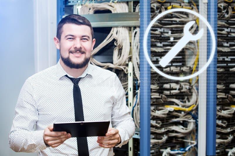 Διοικητής ΤΠ στον κεντρικό υπολογιστή στοκ εικόνα
