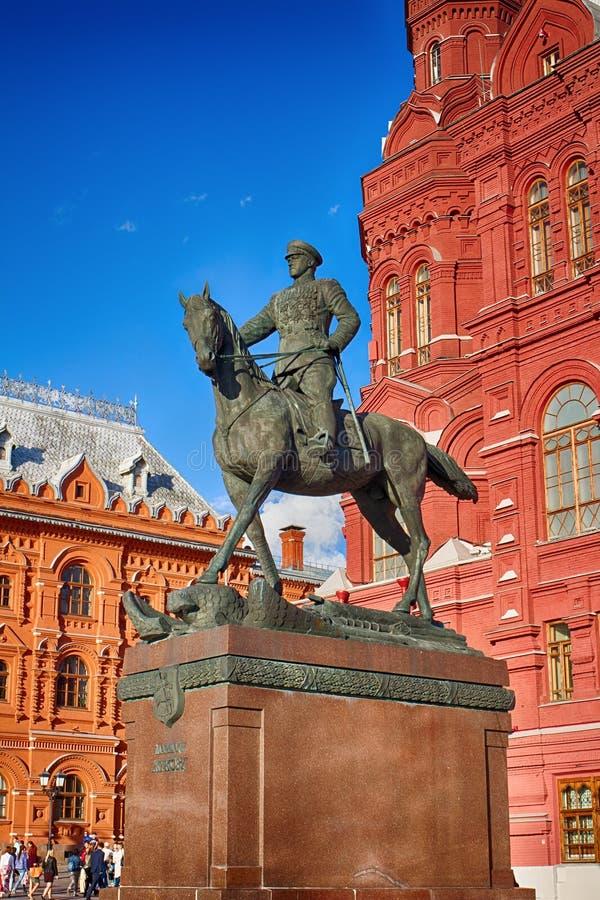 Διοικητής, Marshal Georgy Zhukov Ο ήρωας του δεύτερου παγκόσμιου πολέμου Το μνημείο στο κέντρο της Μόσχας στοκ εικόνα