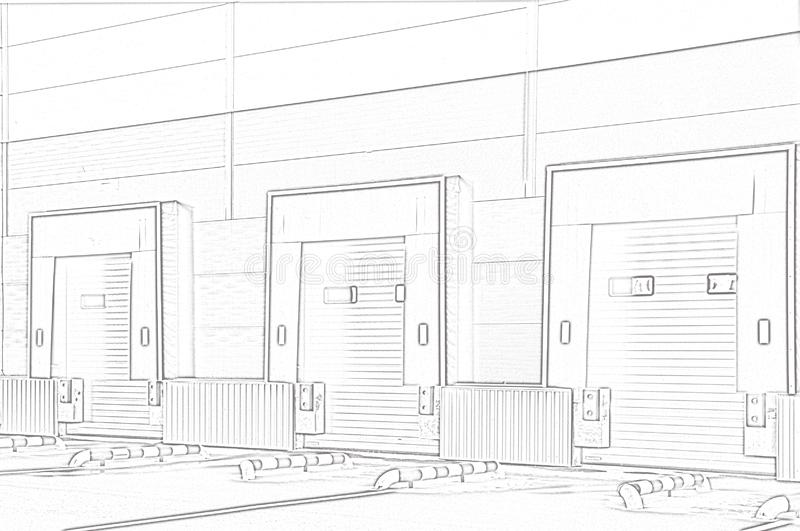 Διοικητικές μέριμνες αποθηκών εμπορευμάτων σύνθετες πύλες φόρτωσης απεικόνιση αποθεμάτων