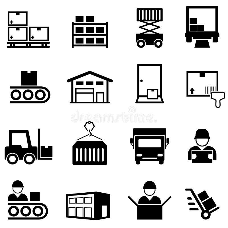 Διοικητικές μέριμνες, σύνολο εικονιδίων αποθηκών εμπορευμάτων, κέντρων διανομής, παράδοσης και ακτοπλοϊκών γραμμών στοκ εικόνες