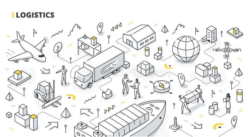 Διοικητικές μέριμνες Isometric Doodle απεικόνιση αποθεμάτων