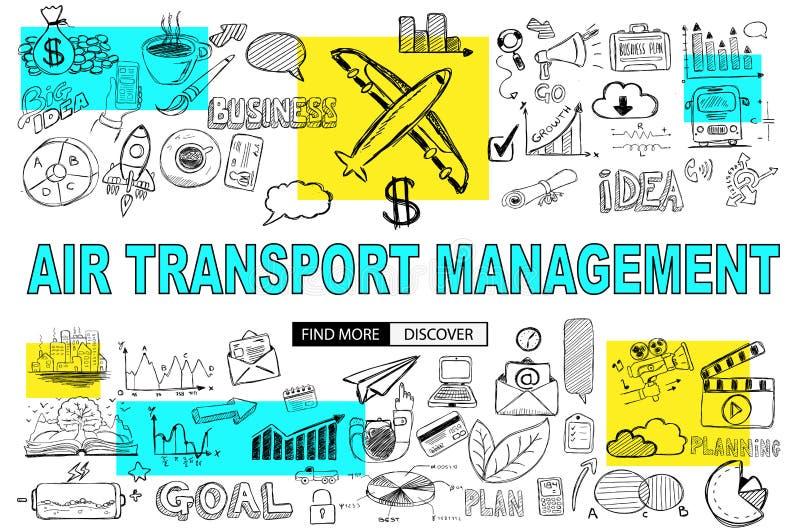 Διοικητική έννοια αεροπορικών μεταφορών με το ύφος σχεδίου Doodle: findi διανυσματική απεικόνιση