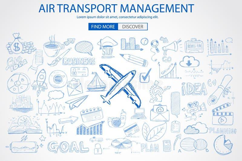 Διοικητική έννοια αεροπορικών μεταφορών με το ύφος σχεδίου Doodle απεικόνιση αποθεμάτων