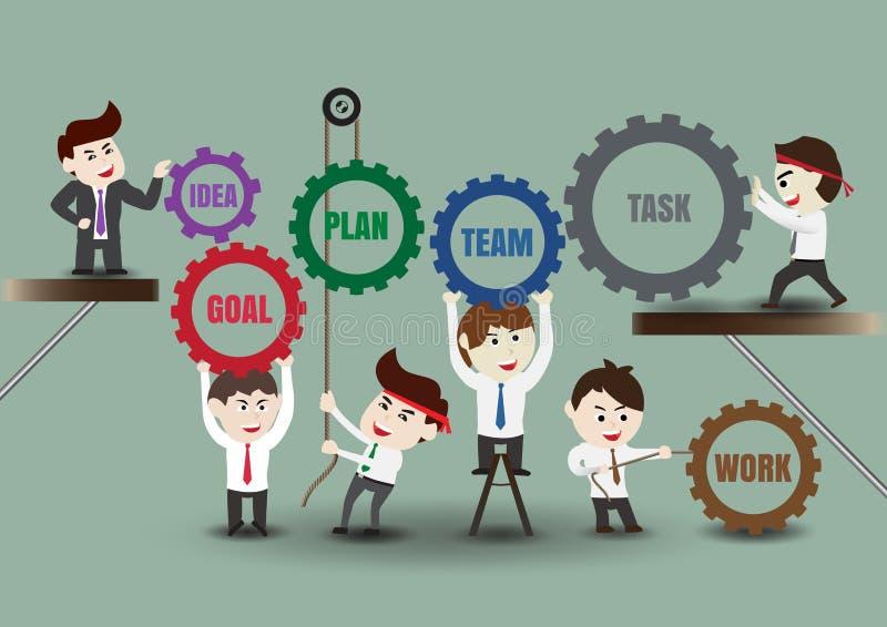 Διοικητική ομαδική εργασία στην επιτυχή επιχείρηση, πρότυπο διανυσματική απεικόνιση