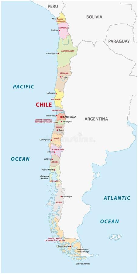 Διοικητικός και πολιτικός χάρτης της Χιλής ελεύθερη απεικόνιση δικαιώματος