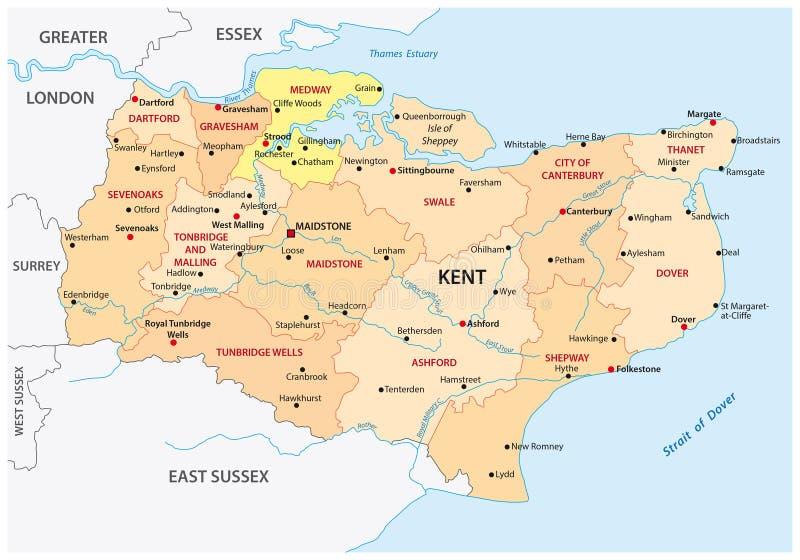 Διοικητικός χάρτης νομών του Κεντ διανυσματική απεικόνιση