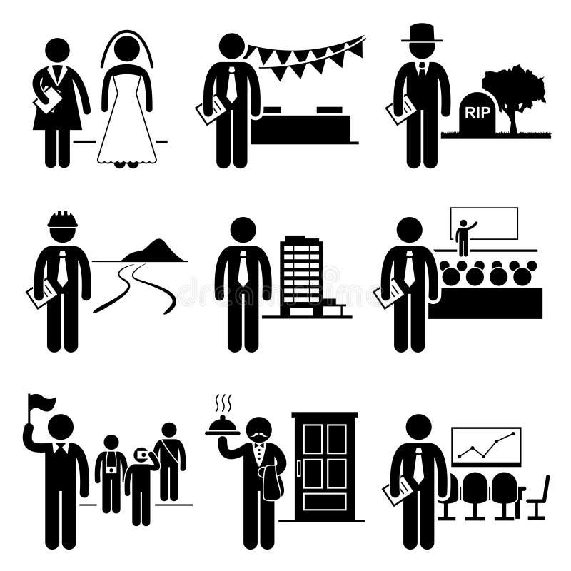 Διοικητικό επάγγελμα εργασιών υπηρεσιών διαχείρησης απεικόνιση αποθεμάτων