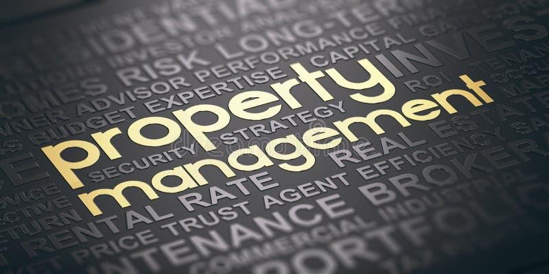 Διοικητικό υπόβαθρο ιδιοκτησίας ακίνητων περιουσιών διανυσματική απεικόνιση