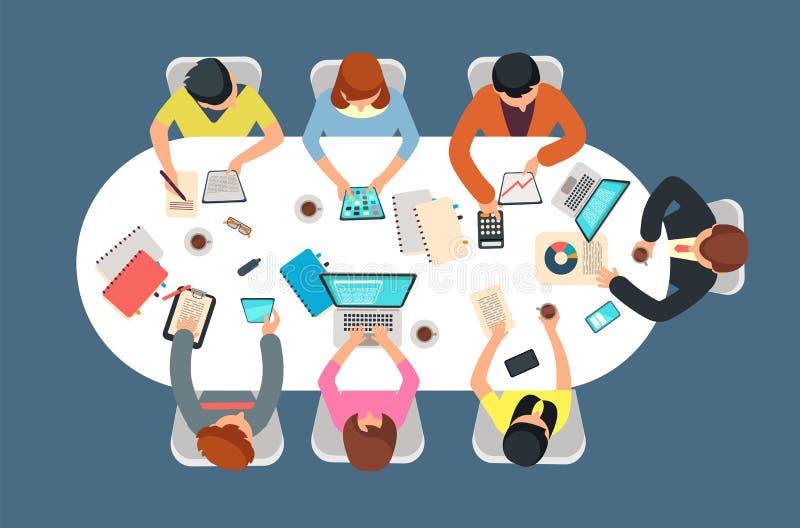 Διοικούμενη ομάδα στη συνεδρίαση των γραφείων στη διανυσματική απεικόνιση άποψης επιτραπέζιων κορυφών Έννοια ομαδικής εργασίας διανυσματική απεικόνιση