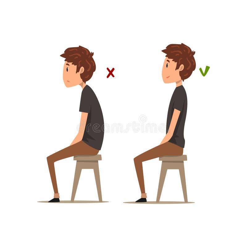 Διορθώστε και χειρότερες θέσεις για τη συνεδρίαση, συνεδρίαση αγοριών στην καρέκλα, διανυσματική απεικόνιση στάσης συνεδρίασης σε ελεύθερη απεικόνιση δικαιώματος