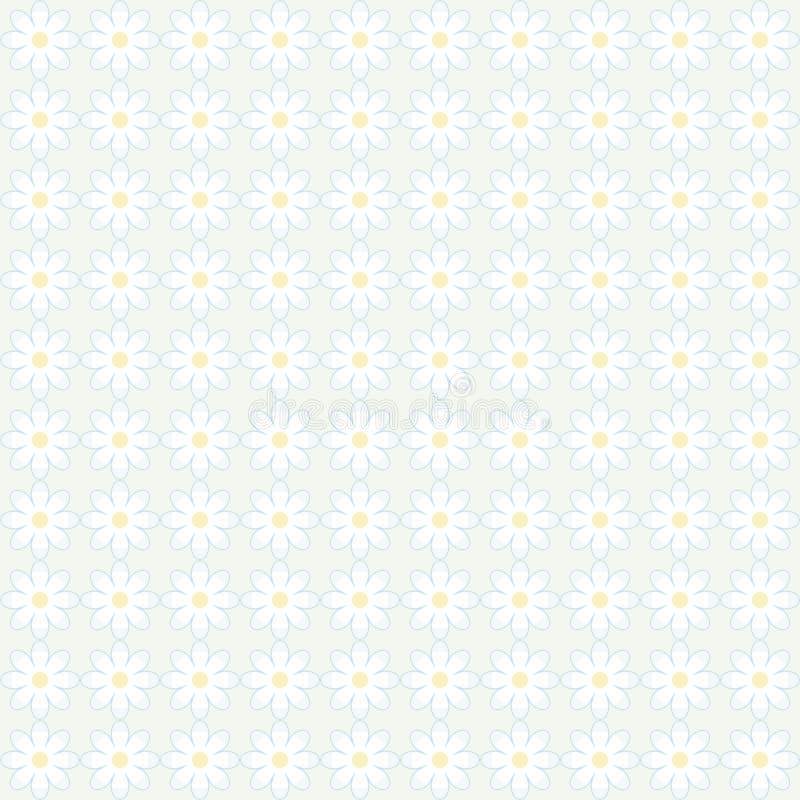 Διορθώστε το απλό σχέδιο των άσπρων χαριτωμένων μαργαριτών με ένα κίτρινο κέντρο σε ένα μπλε υπόβαθρο σύστασης υποβάθρου floral δ διανυσματική απεικόνιση