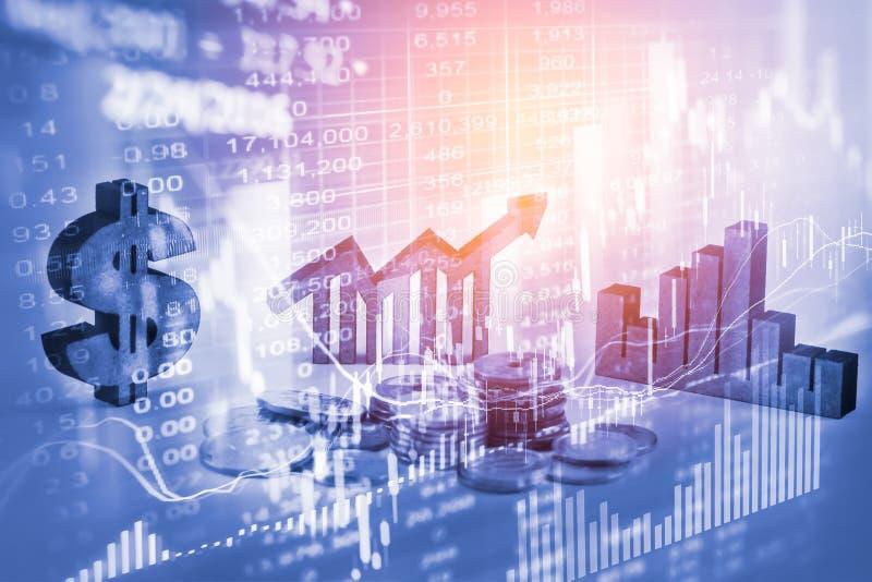 Διπλά επιχειρησιακά στηρίγματα έκθεσης στην οικονομική αύξηση αποθεμάτων econom στοκ φωτογραφίες