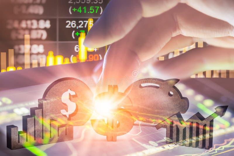 Διπλά επιχειρησιακά στηρίγματα έκθεσης στην οικονομική αύξηση αποθεμάτων econom στοκ εικόνες