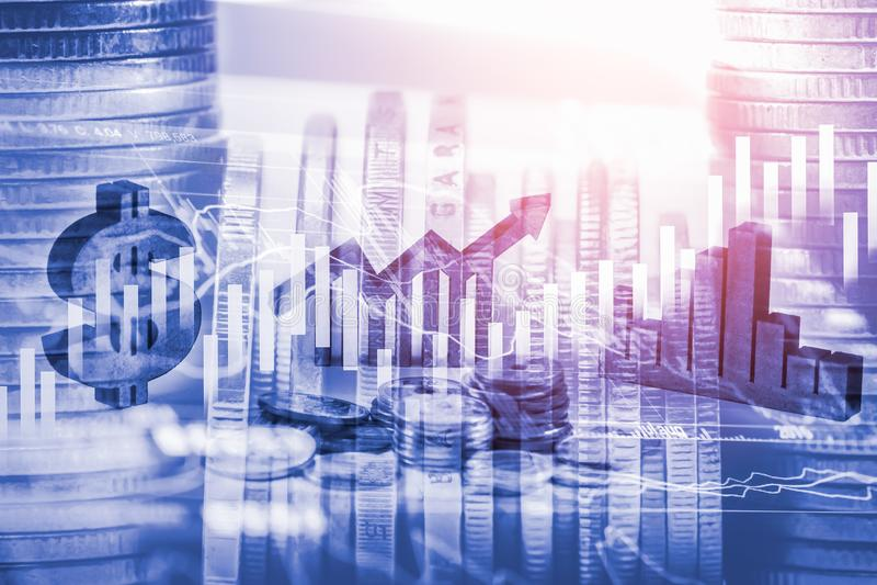 Διπλά επιχειρησιακά στηρίγματα έκθεσης στην οικονομική αύξηση αποθεμάτων econom στοκ εικόνα με δικαίωμα ελεύθερης χρήσης