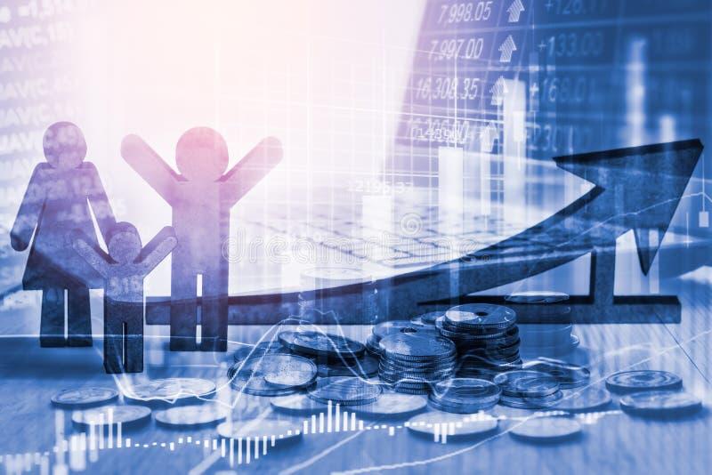Διπλά επιχειρησιακά στηρίγματα έκθεσης στην οικονομική αύξηση αποθεμάτων econom στοκ φωτογραφία
