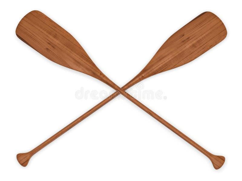 Διπλά ξύλινα κουπιά στοκ εικόνα