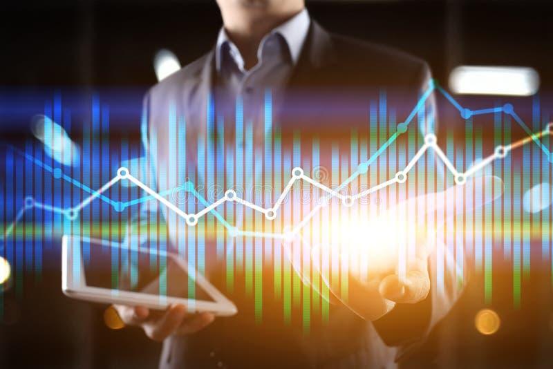Διπλές οικονομικές διαγράμματα και γραφικές παραστάσεις έκθεσης στην εικονική οθόνη Έννοια on-line εμπορικών συναλλαγών, επιχειρή στοκ εικόνα