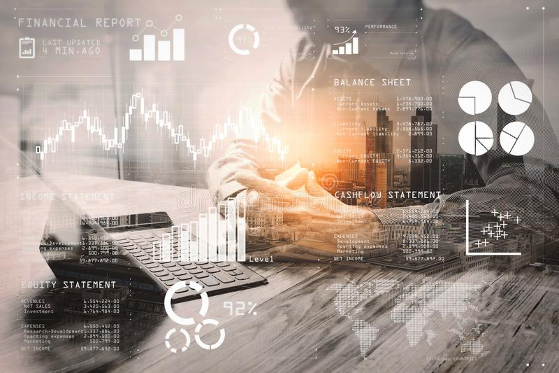 Διπλή έκθεση, επιχειρηματίας που λειτουργεί με το νέο πρόγραμμα ξεκινήματος ΗΠΑ διανυσματική απεικόνιση