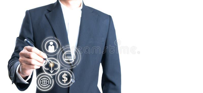 Διπλή έκθεση των επιχειρηματιών που κρατούν τη μάνδρα με σύγχρονο στοκ εικόνες με δικαίωμα ελεύθερης χρήσης
