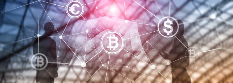 Διπλή έκθεση Bitcoin και blockchain έννοια Ψηφιακές εμπορικές συναλλαγές οικονομίας και νομίσματος διανυσματική απεικόνιση