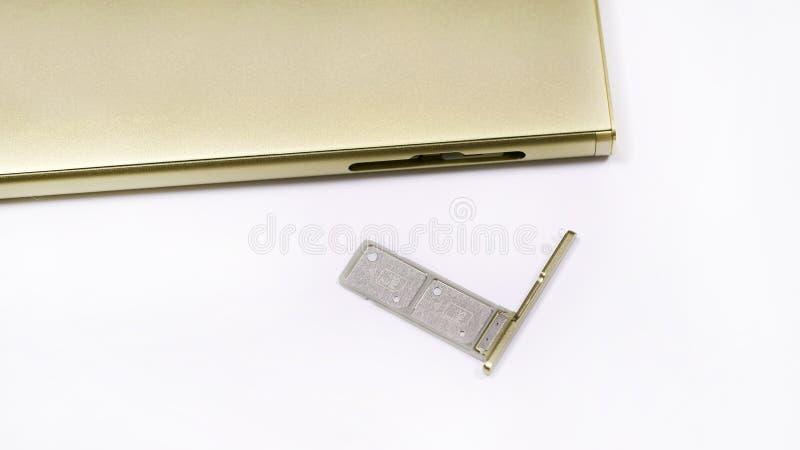 Διπλή υποδοχή κάρτας SIM στοκ εικόνες