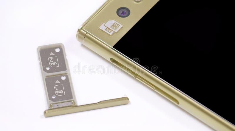 Διπλή υποδοχή κάρτας SIM στοκ φωτογραφία με δικαίωμα ελεύθερης χρήσης