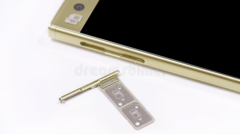 Διπλή υποδοχή κάρτας SIM στοκ φωτογραφίες με δικαίωμα ελεύθερης χρήσης