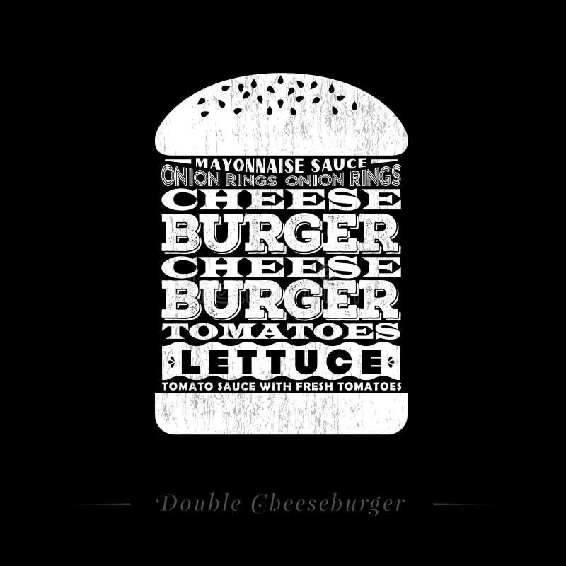 Διπλή cheeseburger συνταγή infographic, γραπτός, κιμωλία-συμένος εγγραφή ελεύθερη απεικόνιση δικαιώματος