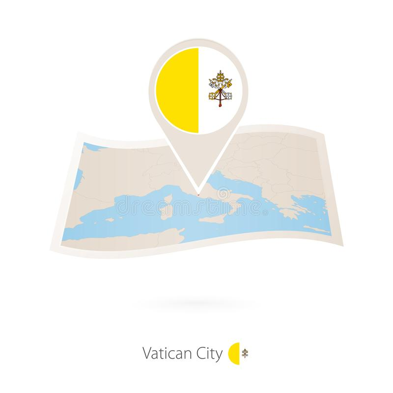 Διπλωμένος χάρτης εγγράφου της πόλης του Βατικανού με την καρφίτσα σημαιών της πόλης του Βατικανού ελεύθερη απεικόνιση δικαιώματος