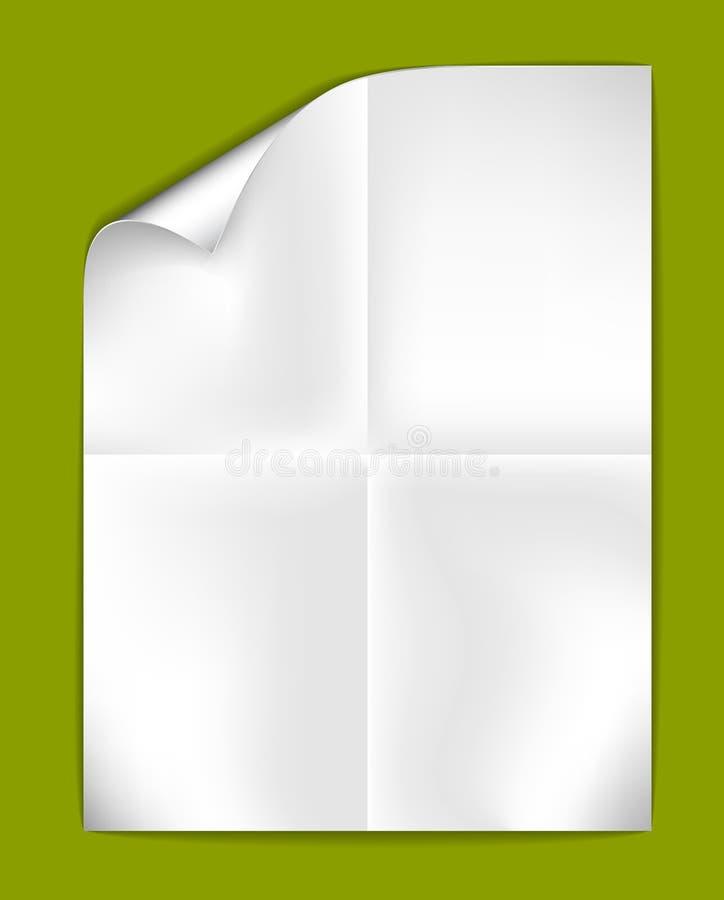 διπλωμένο λευκό φύλλων ε& ελεύθερη απεικόνιση δικαιώματος