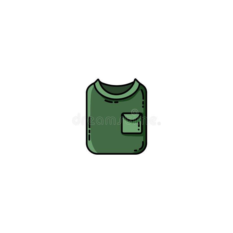 Διπλωμένο Greent tekking επίπεδο εικονίδιο πουκάμισων r απεικόνιση αποθεμάτων